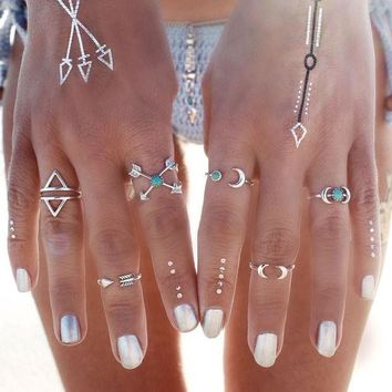 LMF9GW 6PCS Vintage Turkish Beach Punk Moon Arrow Ring Set Ethnic Carved Antique Silver Boho Midi Finger Ring Knuckle