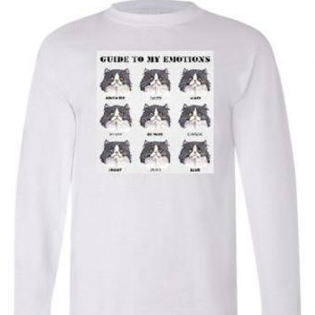unisex Tshirts: guide to emotions cats Long sleeved shirts kittens Cool Funny long-sleeved T Shirt graphic design sleeves