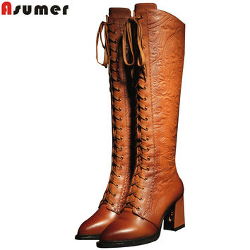 2016 fashion high quality women boots high heels pu+ genuine leather motorcycle boots women lace up knee high boots winter shoes