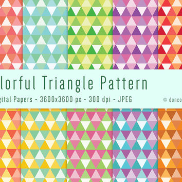 10 Colorful Triangle Gift Wrapping Paper Digital Patterns Backgrounds - 300 dpi - JPEG - 3366x3425px