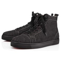 Louis Men's Flat Charbon Suede - Men Shoes - Christian Louboutin