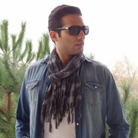 Handwoven infinity scarf, Black,Grey Striped Scarves, Natural,Organic Scarf, Fashion accessories, Men's Scarves