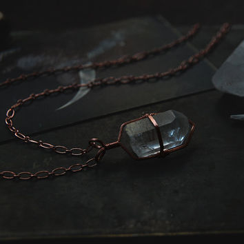clear quartz point necklace • clear quartz necklace - crystal cage necklace - copper crystal necklace - witch jewelry