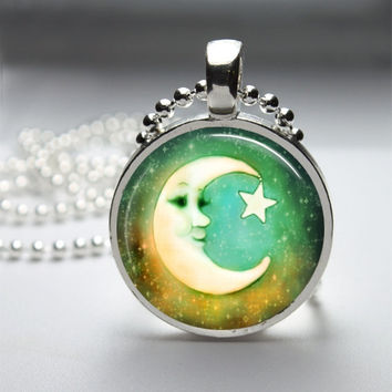 Round Glass Bezel Pendant Moon Pendant Moon Necklace With Silver Ball Chain (A3294)