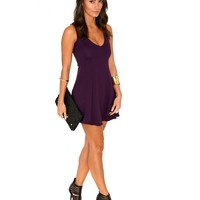 Missguided - Olisa Plunge Neck Swing Dress In Purple
