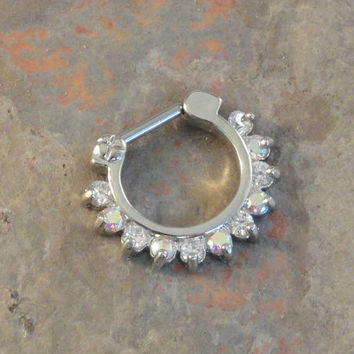 16 Gauge Sparkly Septum Ring Clicker Daith Ring Nose Piercing