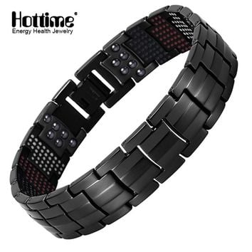 Hottime 591PCS Energy Stone Titanium Steel Magnetic Bracelets & Bangles Black Gun Plated Germanium Bracelet Fashion Men Jewelry