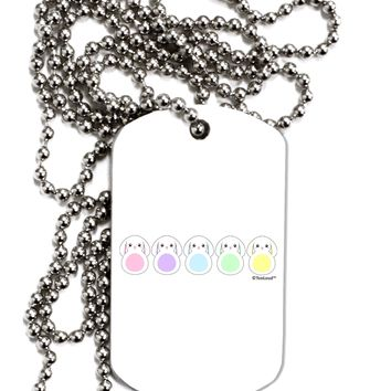 Cute Pastel Bunnies Adult Dog Tag Chain Necklace by TooLoud