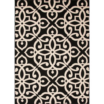 Indoor/Outdoor Damask Pattern Black/Taupe Polypropylene Area Rug (4x5.3)