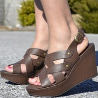 BELLINA  BROWN  WEDGES