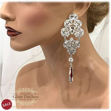 Bridal CZ Crystal Victorian Chandelier Earrings