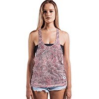'Red and white swirls doodles' Vests by Savousepate on miPic