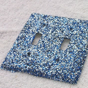 Blueberry Crush Glitter Light Switch Cover - Double Switch Blue