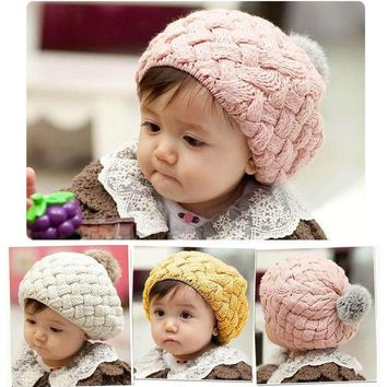 Real Rabbit Fur Knitted Baby Caps Cute Baby Photography Props Soft Plaited Baby Hat Baby Girl Crochet Beanie Toddler Cap