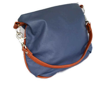 Hobo leather purse bag colorful cool tan and indigo blue smooth leather small shoulder lightweight handbag  handmade becky