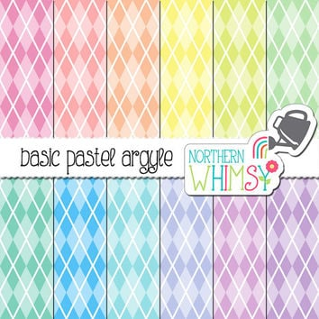 Pastel Argyle Digital Paper – pastel scrapbook paper with an argyle pattern in pink, peach, yellow, mint, blue, & purple - commercial use