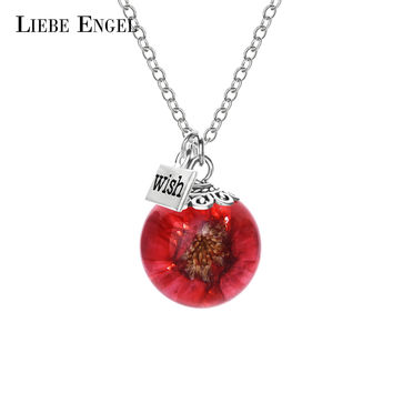Red Daisy Glass Wish Bottle Pendant Necklace