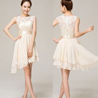 FASHION ELEGANT CUTE CHAMPAGNE COLOR LACE DRESS FOR WEDDING FOR PARTY FOR HOMECOMING