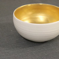 porcelain & gold bowl / vessel / candle holder / ring dish