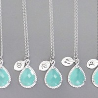 Set of 5 Mint, Initial, Necklace, Bridesmaid, Mint, Initia,l Necklaces