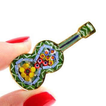 Vintage Micro Mosaic Guitar Brooch -  Gold Tone Floral Costume Jewelry Pin / Colorful Glass