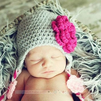 Sale, Newborn Crochet Baby Hat with Earflaps and Flowers - Light Gray, Hot Pink, and Light Pink - Perfect for Photos