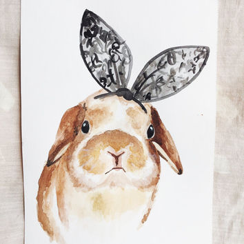 LACE EARS WATERCOLOR - bunny rabbit original watercolor painting print nursery
