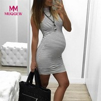 Womens Maternity Dress Pregnants Nursing Baby For Maternity Stripe Sexy Pregnancy Mini Dress Clothing Mother Home Clothes vestid