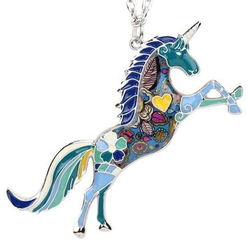 Original Statement Enamel Unicorn Horse Necklace Pendants With Specular Effect Chain Collar Jewelry Accessories For Women