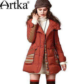 Artka Women's Boho Winter Vintage Hooded Full Sleeve Outerwear Embroidery Drawstring Adjustable Waist Down Coat ZK13647D