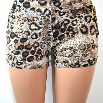 Soho Girls Thick Waistband Cheetah Print Shorts