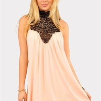 Venetian Crochet Dress - Peach