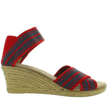 Charleston Shoe Cannon - Red/Denim Stripe Elasticized Crisscross Wedge Espadrille Sandal