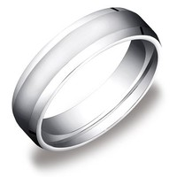 Men's 10k White Gold 6mm Comfort-Fit High Polished Wedding Band with Beveled Sides