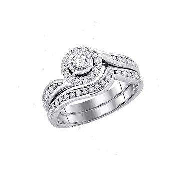 14kt White Gold Women's Round Diamond Swirl Bridal Wedding Engagement Ring Band Set 3/4 Cttw - FREE Shipping (US/CAN)