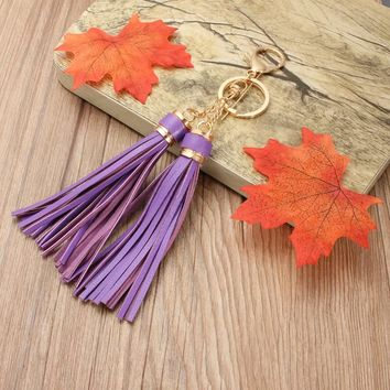 New Fringe Pandent Leather Long Tassel Ornament With 2 Tassels Gold plated For Bag Accessories Parts Charm Pendant Jewelry