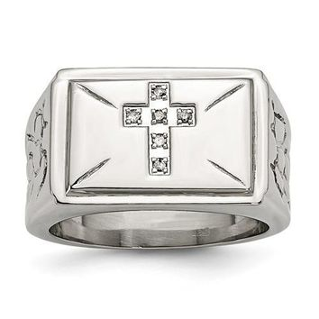 Stainless Steel Diamond Cross With Textured Sides Ring