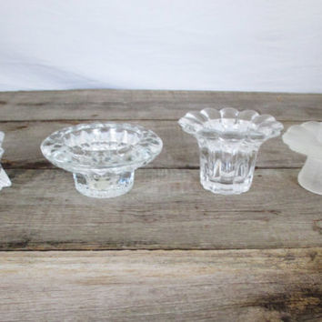4 Glass Candlestick Holders Vintage Collection of Candlestick Holders Mid Century Clear Glass Candle Holders Vintage Wedding