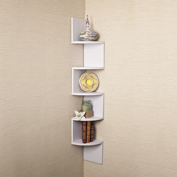 Danya B Large White Laminate Corner Wall Mount Shelf