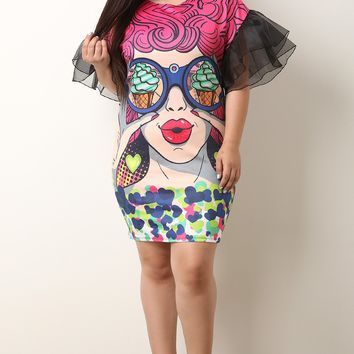 I Spy Ice Cream Pop Art Ruffle Sleeve Dress