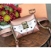 MCM Popular Women Shopping Bag Leather Purse Waist Bag Single Shoulder Bag Crossbody Rose Golden