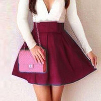 Wine Red Long Sleeve Pleated Mini Dress