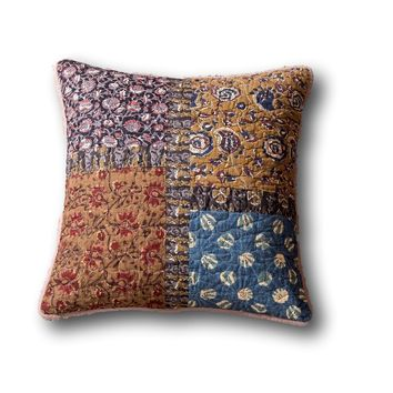 Tache Sunset Blooms Floral Quilted Patchwork Multi Color 2 Pieces Cushion Covers (JHW-825-18X18-2PC)