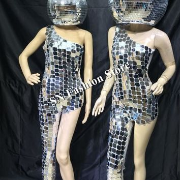 Mirror LED Disco Ball Helmet and Silver Outfit