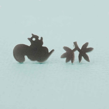 Mismatched leaf and Squirrel Earrings Simple gold or silver Fall Earrings tiny post earrings tree branch earrings minimalist jewelry