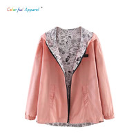 2016 Autumn Fashion women Pocket Zipper hooded two sides wear lady  Cartoon  outwear Bomber Basic Jacket