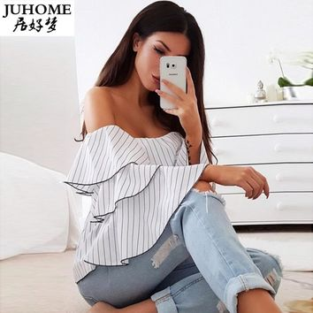 Women Sexy ruffle Blouses Slash Neck Off Shoulder Butterfly Long Sleeve Casual Tops Shirts Blue White Striped Party Blusas shirt
