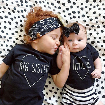 BigBro/Sis- Lil Sis- Black Graphic T-Shirt Free Shipping-My4Kings