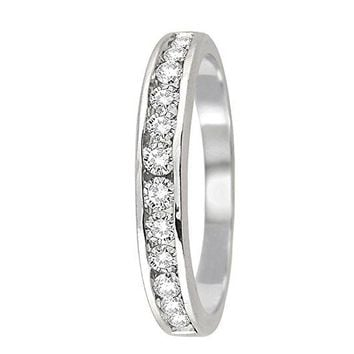 1/2 Carat TW 10K White Gold Channel Set Diamond Band (AGS Certified )