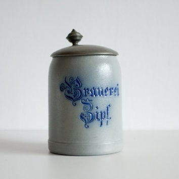 Antique Beer Stein, Austrian Stein, Lidded Beer Mug, Ceramic Pitcher, Lager, For Guys, Gift for him, Man, Dad, Blue, Gray, Brewery, ohtteam